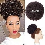 Haarteile Echthaar Haargummi Haarteil Clip in Extensions Echthaar Gewellt Afro Hair Bun Chignon Hair Extensions #1B Naturschwarz 15cm lang 66g #1B Naturschwarz