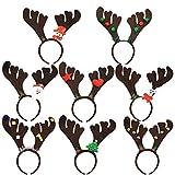 Sunshine smile 8pcs Rentier Geweih Haarreif,Weihnachten Stirnbänder,Weihnachts-Haarreifen,Weihnachten Haarband,Weihnachten Kopfbedeckung,Weihnachten Haarreif Rentier,Stirnbänder Partyhüte