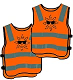 2 Kinder Warnwesten Sicherheitsweste Orange - Stark Sichtbar - Atmungsaktiv - Universal Größe