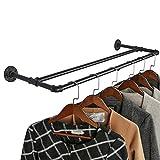 OROPY Industrierohr Doppelte Kleiderstange, 90cm Schwarz Metall Wandmontage Kleiderständer zum Hängende Kleidung (H-förmig)