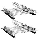 SONGMICS Hosenbügel Klammer Metall Kleiderbügel für Hosen, 20 Stück, 31 cm, Anti-Rutsch Kleiderbügel für Röcke Socken, Rockbügel mit Clips, verchromt CRI003-20