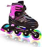 Hiboy verstellbare Inline-Skates mit Allen beleuchteten Rädern, beleuchteten Outdoor- und Indoor-Rollschuhen für Jungen, Mädchen, Anfänger (Small 31-34, Pink)