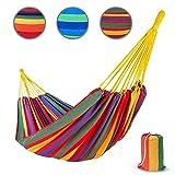 casa pura Hängematte Samui aus Baumwolle   extra Starke Seile   für 2 Personen   Tragetasche GRATIS   250x160 cm   Hautfreundliche Doppelhängematte   Tuch-Hängematte belastbar bis 220 kg