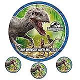 Tortenaufleger aus Zuckerpapier - Tortenbild Geburtstag Tortenplatte Zuckerbild Motiv: Jurassic Park