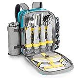 GOODS+GADGETS Picknick-Rucksack für 4 Personen - Picknicktasche mit Picknick-Decke, Besteck, Geschirr & Kühlfach