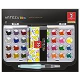 ARTEZA Kids Wasserfarben-Malset, Malkasten mit 36 Wassermalfarben, enthält Pinsel, Wasserfarben-Pinselstift und Mischpalette, zum Malen für Kinder