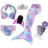 JoyChic Meerjungfrauenschwanz zum Schwimmen Meerjungfrauen Bikini Set Badeanzüge Badenbkleidung Kostüm Meerjungfrauenflosse für Mädchen Monoflosse Inkl (120-130cm, Style 4 neu)