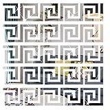 SelfTek 30 Stück DIY Spiegel-Aufkleber, abnehmbar, selbstklebend, Wandaufkleber für Zuhause, Kunst, Zimmer, Schlafzimmer, Hintergrunddekoration (geometrisches griechisches Schlüsselmuster)