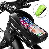 otumixx Fahrrad Rahmentasche Wasserdicht Fahrrad Handyhalterung für Navi, Fahrrad Lenkertasche TPU Touchschirm mit Sonnenblende und Regenschutz für Handy bis zu 6,5 Zoll