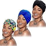 SATINIOR 3 Stücke Afrikanischen Turban für Damen Knoten Pre-Gebunden Motorhaube Hut Kopfbedeckung (Schwarze, Blaue, Rosa Blume)