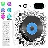 Tragbarer CD Player mit Bluetooth, Wandmontierbarer CD-Musik-Player mit Staubschutz Heim-Audio-Boombox mit Fernbedienung,FM-Radio, USB mp3 Kopfhöreranschluss AUX-Eingang Ausgang(weiß)