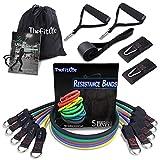 TheFitLife Fitness Widerstandsbänder mit Griff 150lbs - 5 Fitnessgurte, Trainingsrohr mit großem Griff, Knöchelriemen, Türankerbefestigung, Handtasche und Bonus eBook