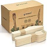 greenli Einwegbesteck - 200 Holzgabeln und Holzmesser - Nachhaltiges Einweggeschirr Set aus Holz