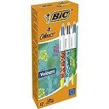 BIC 4 Colours Velours Vierfarb-Kugelschreiber Dschungel-Motiv mit mittlerer Spitze - 12er Pack