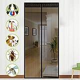 NASUM Magnet Fliegengitter Balkontür, Fliegenvorhang Magnetvorhang Tür 100cm X 220cm Insektenschutz Türvorhang Max, einfach zu montieren Ohne Bohren, für Balkontür/Terrassentür (neu Design)