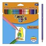 BIC Kids Tropicolors Kinder Stifte - Buntstifte Set für Kinder ab 5 Jahren mit bruchsicherer Mine & ohne Holz – 24 Stifte im Kartonetui