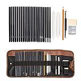 Dyna-Living Bleistift Set, Kohlestifte Zeichenset Zeichnen Lernen Kugelschreiber Set mit Skizzenbuch für Künstler, Anfänger, Student oder Lehrer - 30 Stück