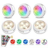 RGB LED Schrankbeleuchtung Nachtlicht Batteriebetrieben mit Fernbedienung - Schranklicht dimmbar mit Timer Funktion, Wandspot, Kabinett Beleuchtung für Innendekoration, 6er Set