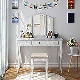 HOMECHO Schminktisch mit Hocker und Abnehmbarer Spiegel Kosmetiktisch Set Weiß Frisierkommode mit Schubladen Frisiertisch für Schlafzimmer Schminkkommode Weiß 108 * 45 * 134 cm