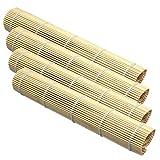 Space Home - Sushi Rollmatte aus Bambus - Für die Zubereitung von Maki-Sushi - Sushimatte - Bambusmatte - 4 Bambus Sushi Matten