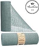 AmaCasa Eco Tischläufer Jute 30cm breit, 10m Rolle   gestärkter Jutestreifen mit kompostierbarem Etikett   Tischband für wundervolle Dekorationen in vielen Farben (Grau-Blau, 30cm/10m)