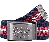 2Stoned Tresor-Gürtel Geldgürtel Navy-Rot-Weiß 4 cm breit, Matte Schnalle Geprägt, für Damen und Herren