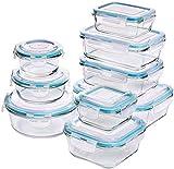Glas-Frischhaltedosen 18 Stück [9 Behälter + 9 Deckel] - Glasbehälter - Transparente Deckel - BPA frei - für Home Küche oder Restaurant - von KICHLY