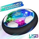 Baztoy Air Fussball Kinderspielzeug Hover Soccer Ball Disk mit LED-Licht & Schaum Stoßstangen Wiederaufladbar Indoor Fußball Geschenk Spielzeug Spiel Kinder Junge Mädchen 3,4,5,6,7,8,9,10 Jahre