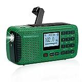 Retekess HR11S Solar Radio Dynamo, AM FM SW Kurbelradio, Wiederaufladbare Weltempfänger, mit Bluetooth, Recorder, LED Lampe, Powerbank, MP3 Player, für Wandern,Camping,Ourdoor,Notfall(Grün)
