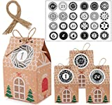 MEIXI 24 Adventskalender zum Befüllen, Adventskalender Tüten mit 24 Zahlenaufklebern, Geschenkbeutel Adventskalender Boxen, Schachteln zum Befüllen, Weihnachtskalender DIY Bastelset