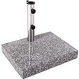 Anaterra Sonnenschirmständer, Schirmständer speziell für Balkon, aus Granit und Edelstahl, 25 kg, eckig, 45 x 35 x 7 cm