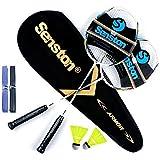 Senston Graphit Badminton Set Carbon Profi Badmintonschläger Leichtgewicht Badminton Schläger Federballschläger Set für Training, Sport und Unterhaltung mit Schlägertasche