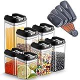 7er Vorratsdosen Lebensmittelbehälter mit Deckel Set Transparente Aufbewahrungsbehälter luftdicht BPA-frei, für Vorratsbehälter für Lebensmittel Mehl,Spaghetti,Kaffee,Bohnen,Gewürze küchenbehälter