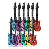 Schramm 12 Stück Luftgitarren Bunt 100cm in 6 Farben Luft Gitarre Air Guitar aufblasbar 12er Pack