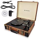 Navaris Retro Koffer Plattenspieler mit Lautsprecher - USB Port zum Digitalisieren - 35,5x11,5x27,5cm - Vintage Schallplatten Spieler Braun-Schwarz