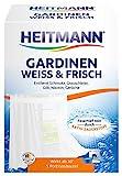 Heitmann Gardinen Weiss und Frisch: Entfernt Schmutz und Grauschleier aus Gardinen, Waschmittel-Ergänzung gegen Gilb, Nikotin und Gerüche, für lange Frische und ein brillantes Weiß, 5 Portionsbeutel