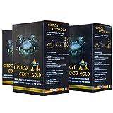 CROCS COCO Gold I Shisha Kohle I Kokosnuss Kohle mit Langer Brenndauer I wenig Asche I geringer Rauchentwicklung I Nachhaltige Naturkohle Shisha I Shisha Würfel mit Premium Qualität I 6kg