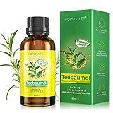 Teebaumöl 100% Reines und Naturrein, Tea Tree Oil Anti Pickel, Akne, Warzen und Andere Hautprobleme, Vegan Teebaum Ätherisches Öl für Unreine Haut, Gesicht, Kopfhaut und Haare, 60ML