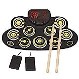 Elektronisches Schlagzeug Set 9 Pads Elektrische Trommel Tragbares Kinder, Anfänger Schlagzeug E-drum mit eingebaute Lautsprecher und Sticks für Weihnachten und Geburtstag