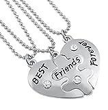 Veuer Mädchen Schmuck Freundschafts-Kette 3 Ketten Best Friends Forever Herz PuzzleGeschenk zu Weihnachten für die Beste Freundin/Freundinnen zum Geburtstag