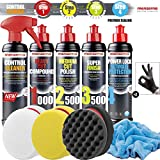 Detailmate Auto Politur Set - Menzerna Autopolitur 250ml: Super Heavy Cut 1000 + Medium Cut 2500 + Super Finish Plus 3500 + Power Lock Ultimate Prot. Wachs + 3x Menzerna Pad + Poliertuch + Handschuhe