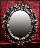 Lnxp WANDSPIEGEL Spiegel OVAL in Schwarz Gold Dualcolor REPRO 45x38 ANTIK BAROCK Rokoko REPLIKATE Renaissance BAROCKSTIL