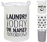 CAM2 Wäschekörbe mit Kordelzug, groß, faltbar, wasserdicht, Baumwolle, Leinen, mit Griffen für Kleidung, Schlafzimmer, Spielzeug, Kinderzimmer