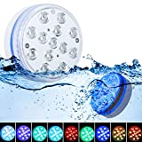 Unterwasser LED Licht GolWof 8.5CM 13 LED Poolbeleuchtung Unterwasser mit RF Fernbedienung RGB Multi Farbwechsel Wasserdichte LED Leuchten Magnetisch für Vase Aquarium Swimmingpool Party (2 Stück)