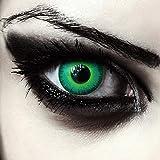 Designlenses Gift farbige Kontaktlinsen für Halloween Karneval'Green Elfe' + gratis Behälter, grün, Ohne Sehstärke, 2 Stück