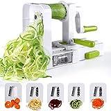 Sedhoom Spiralschneider Mit 5 Klingen, Falterbar Gemüse Spaghetti /Zucchini /Kartoffel Schneider, Spiralschneider mit Saugnapf (Mehrweg)