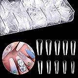 Ealicere 500 Stücke Acryl Künstlich Nagelspitzen Falsche Nagel, Natürliche Nageltips mit Klar Box, Lange Sargform, 10 Größen