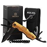NEKAVA 5-in-1 Multitool   Multifunktionswerkzeug mit Klappmesser in schwarzem Edelstahl und Griff aus Gold. Ideal als Survival Messer für Outdoor, Campen, Haushalt. Inkl. GRATIS Credit Card Tool