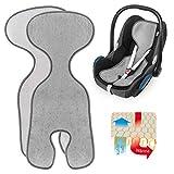 Zamboo Komfort Sitzauflage für Babyschale & Reboarder (passend für Maxi-Cosi, Cybex, Römer) - Atmungsaktive Sommer Sitzeinlage gegen Schwitzen, schont den Kindersitz Bezug - Grau