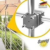 4smile Sonnenschirmhalter Balkongeländer - Sunnyguy, der Solide - Kompakter Sonnenschirmständer Balkon für Schirme bis Ø 2,50 m oder 2 x 1,25 m – Platzsparend, stabil